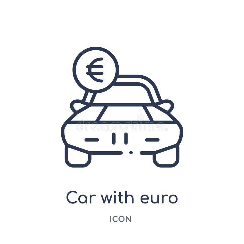 Liniowy samochód z euro ikoną od Mechanicons konturu kolekcji Cienieje kreskowego samochód z euro ikoną odizolowywającą na białym ilustracji