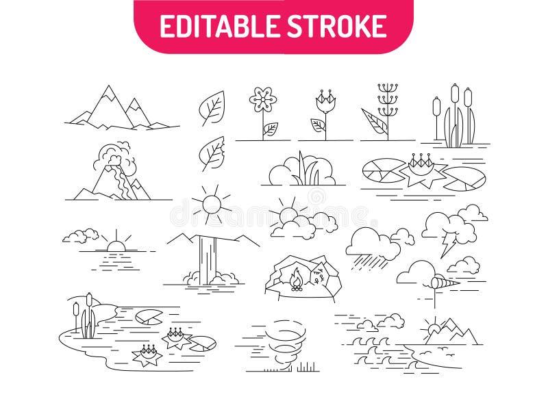 Liniowy set natur ikony Krajobrazy z górami, kwiatami, rzeką, morzem, chmurami i wschodem słońca, również zwrócić corel ilustracj ilustracji
