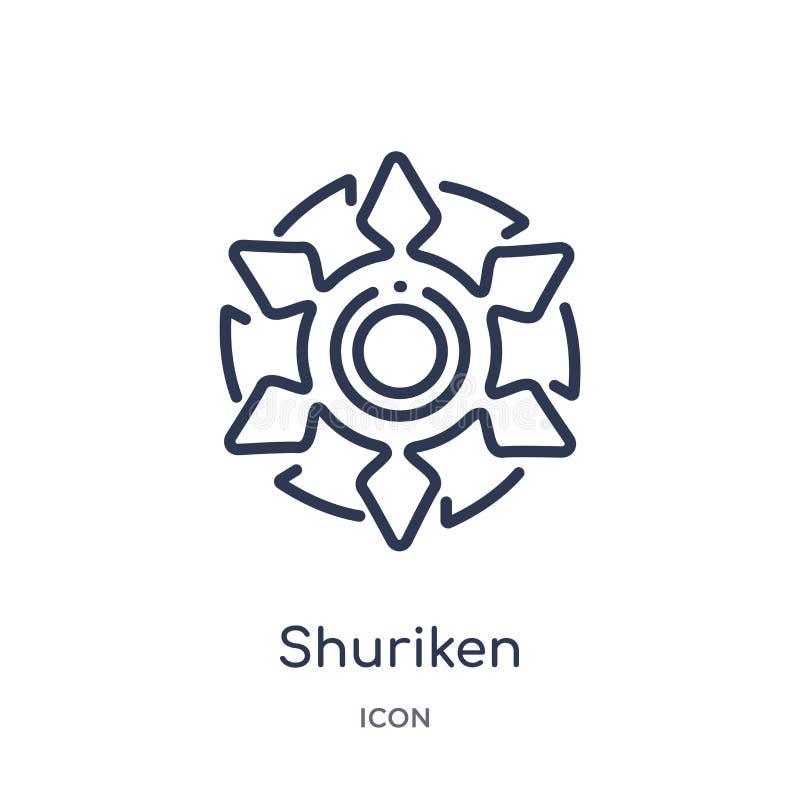 Liniowy shuriken ikonę od Azjatyckiej kontur kolekcji Cienka linia shuriken wektor odizolowywającego na białym tle shuriken modne ilustracja wektor