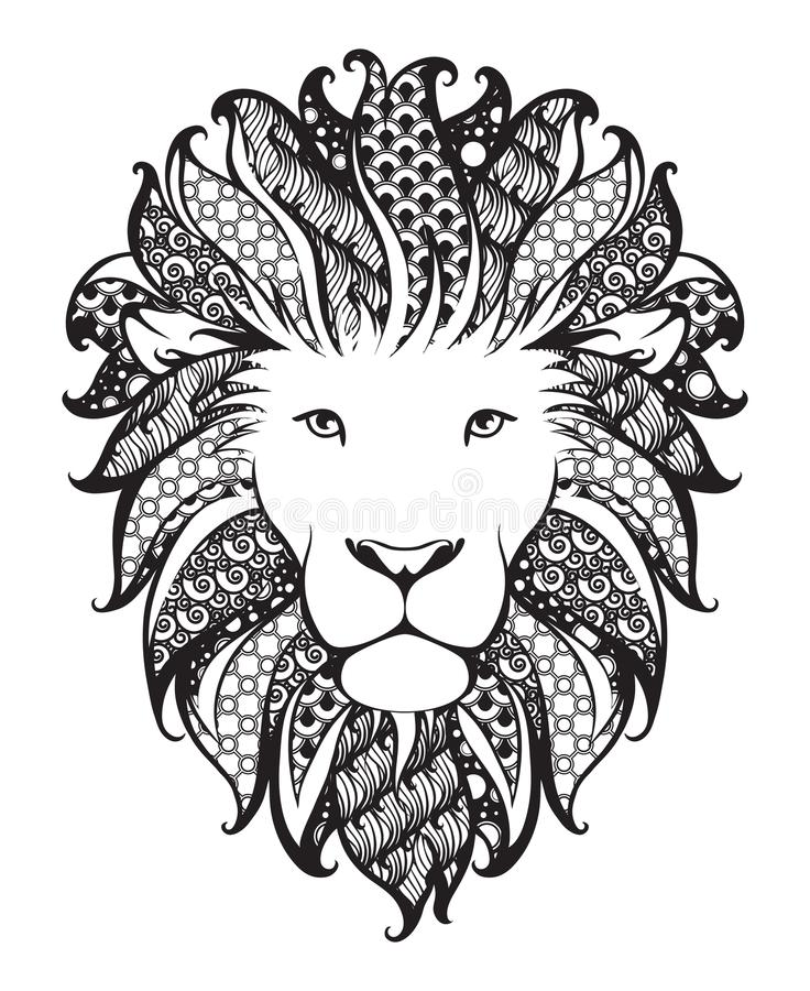 Liniowy stylizowany lew Czarny i biały grafika Wektorowa ilustracja może używać jako projekt dla tatuażu, koszulka, torba, plakat royalty ilustracja