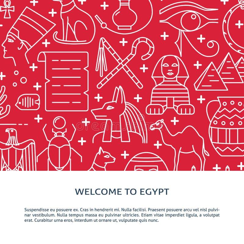 Liniowy stylowy tło z Egipt symbolami i miejsce dla teksta ilustracja wektor