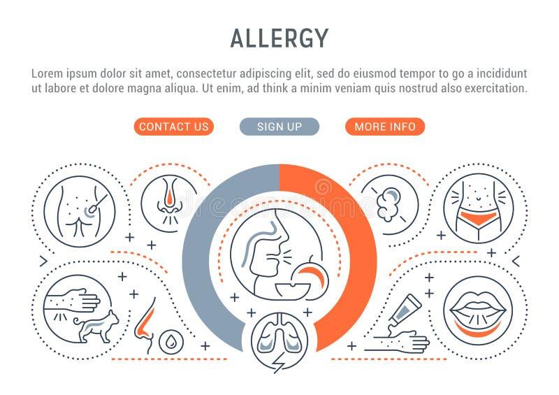 Liniowy sztandar alergia royalty ilustracja