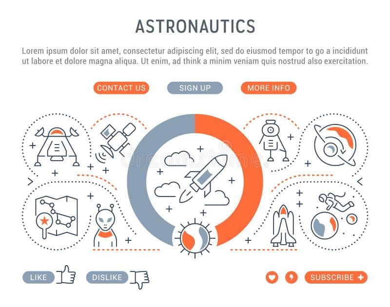 Liniowy sztandar astronautyka ilustracja wektor