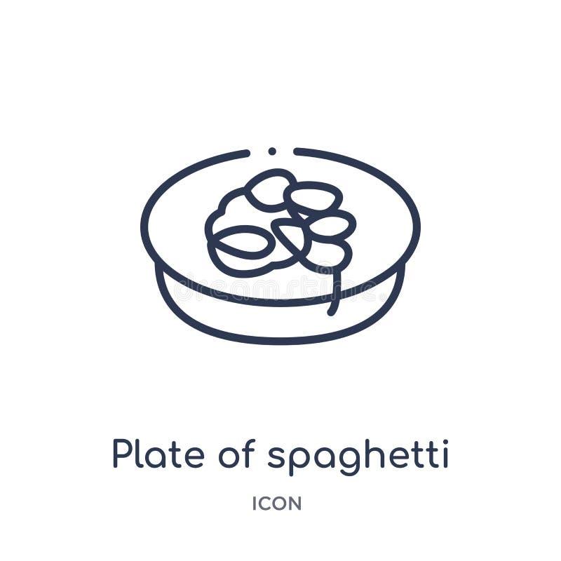 Liniowy talerz spaghetti ikona od bistr i restauracyjnej kontur kolekcji Cienki linia talerz odizolowywający dalej spaghetti wekt ilustracji
