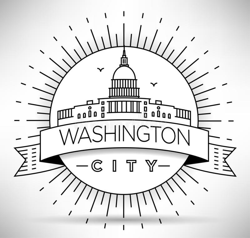 Liniowy Waszyngton D C Sylwetka miasta z projektem typograficznym ilustracja wektor