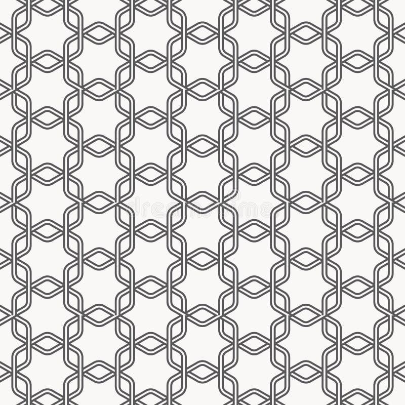 Liniowy wektoru wzór, wielostrzałowy liniowy sześciokąta krzyż each z abstrakcjonistycznym kwiatu wzorem ilustracja wektor