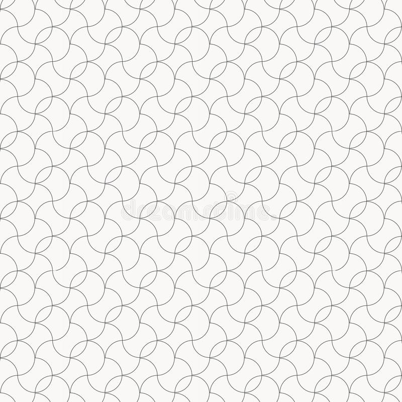 Liniowy wektoru wzór z cienkimi skarbikowanymi okrąg liniami, ślimacznicami i dekoracyjna kratownica royalty ilustracja