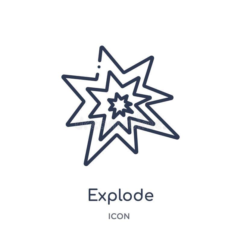 Liniowy wybucha ikonę od geometria konturu kolekcji Cienka linia wybucha ikonę odizolowywającą na białym tle wybucha modnego royalty ilustracja