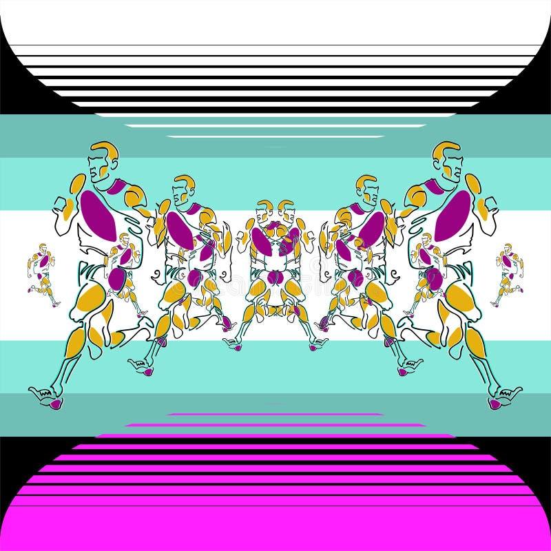 Liniowy wzór stylizowane postacie atlety ilustracji