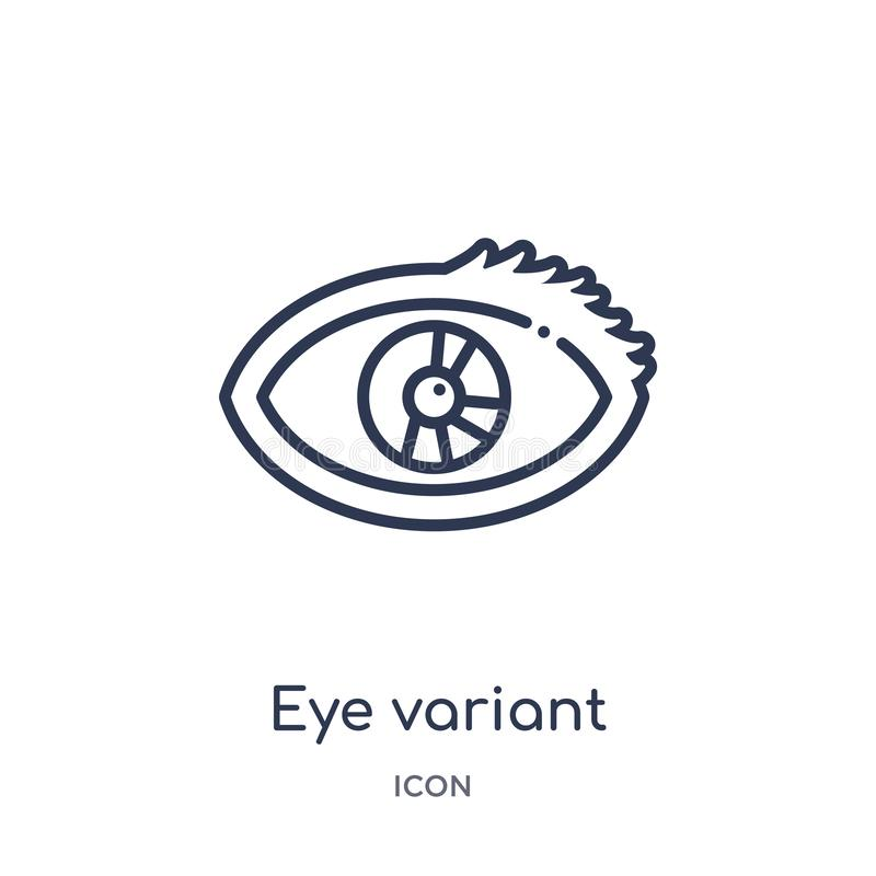 Linjär ögonvariant med den förstorade elevsymbolen från samling för översikt för människokroppdelar Tunn linje ögonvariant med de royaltyfri illustrationer