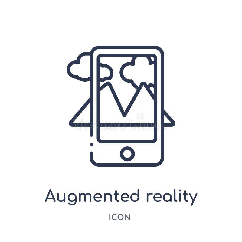 Linjär ökad verklighetsymbol från den framtida teknologiöversiktssamlingen Den tunna linjen ökade verklighetsymbolen som isolerad stock illustrationer