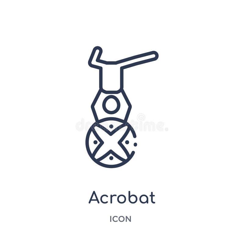 Linjär akrobatsymbol från cirkusöversiktssamling Tunn linje akrobatvektor som isoleras på vit bakgrund moderiktig akrobat royaltyfri illustrationer