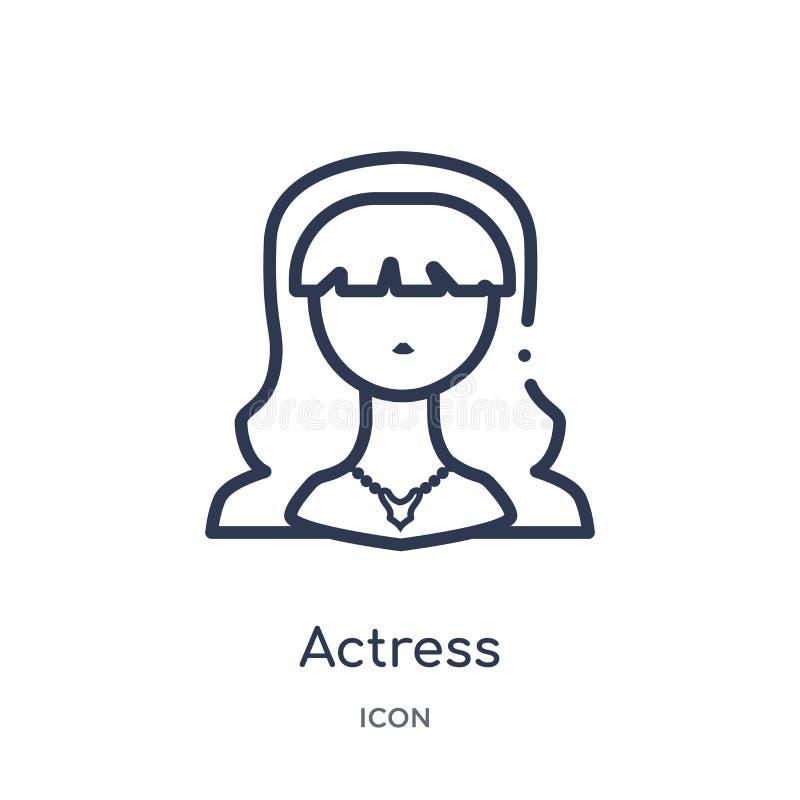 Linjär aktrissymbol från bioöversiktssamling Tunn linje aktrisvektor som isoleras på vit bakgrund moderiktig aktris vektor illustrationer