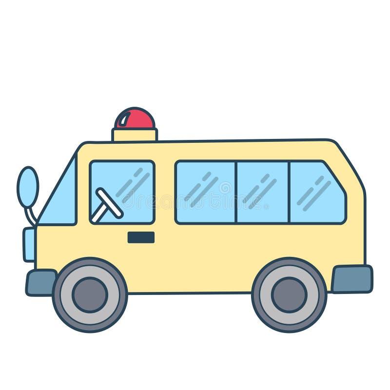 Linjär ambulans e på vit bakgrund arkivbild