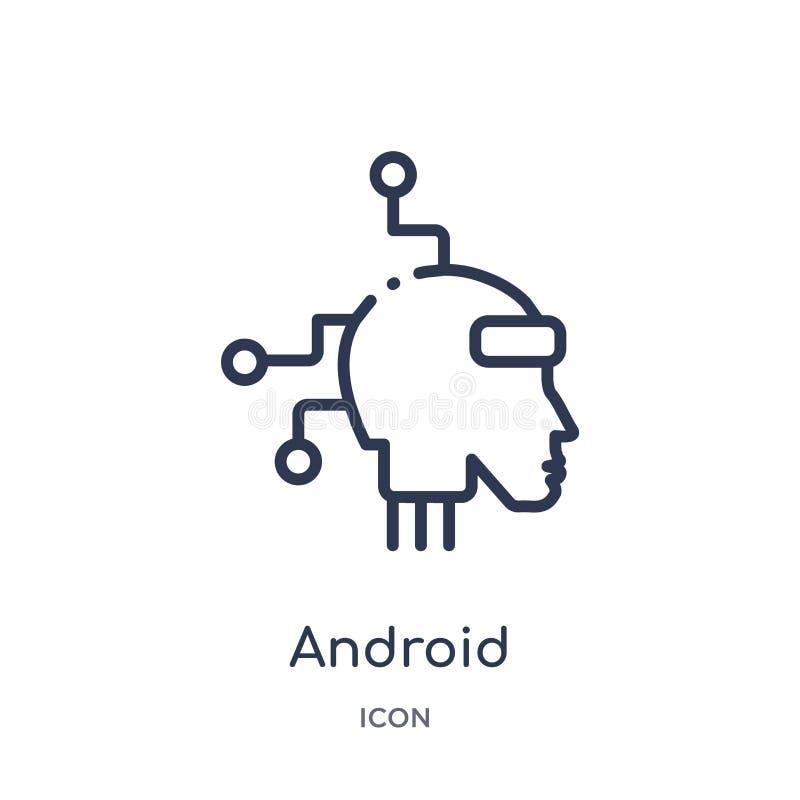 Linjär androidsymbol från konstgjord intellegence och den framtida teknologiöversiktssamlingen Tunn linje androidvektor som isole royaltyfri illustrationer