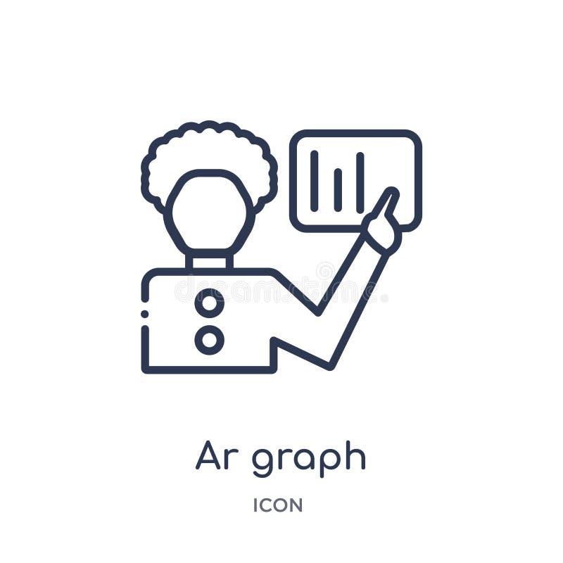 Linjär ar-grafsymbol från samling för allmän översikt Tunn linje ar-grafsymbol som isoleras på vit bakgrund moderiktig ar-graf royaltyfri illustrationer