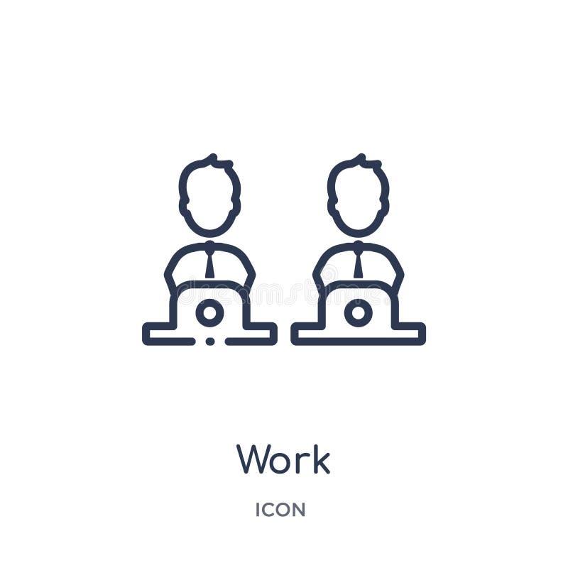 Linjär arbetssymbol från blogger- och influenceröversiktssamling Tunn linje arbetsvektor som isoleras på vit bakgrund moderiktigt vektor illustrationer