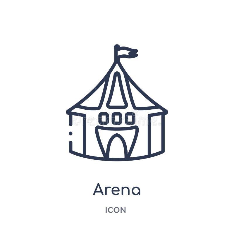 Linjär arenasymbol från cirkusöversiktssamling Tunn linje arenavektor som isoleras på vit bakgrund moderiktig illustration för ar royaltyfri illustrationer