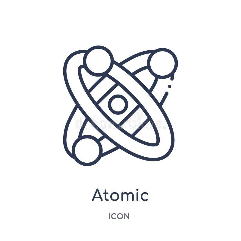 Linjär atom- symbol från kemiöversiktssamling Tunn linje atom- vektor som isoleras på vit bakgrund atom- moderiktigt royaltyfri illustrationer