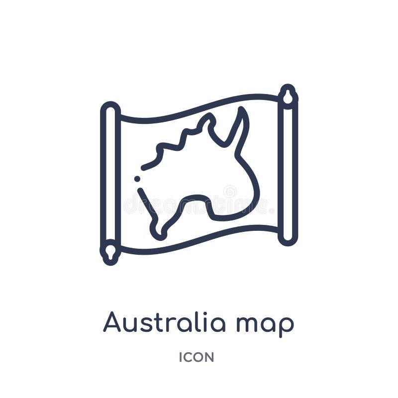 Linjär Australien översiktssymbol från Countrymaps översiktssamling Tunn linje Australien översiktsvektor som isoleras på vit bak stock illustrationer
