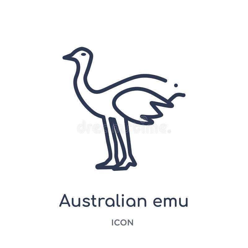 Linjär australisk emusymbol från kulturöversiktssamling Tunn linje australisk emuvektor som isoleras på vit bakgrund royaltyfri illustrationer