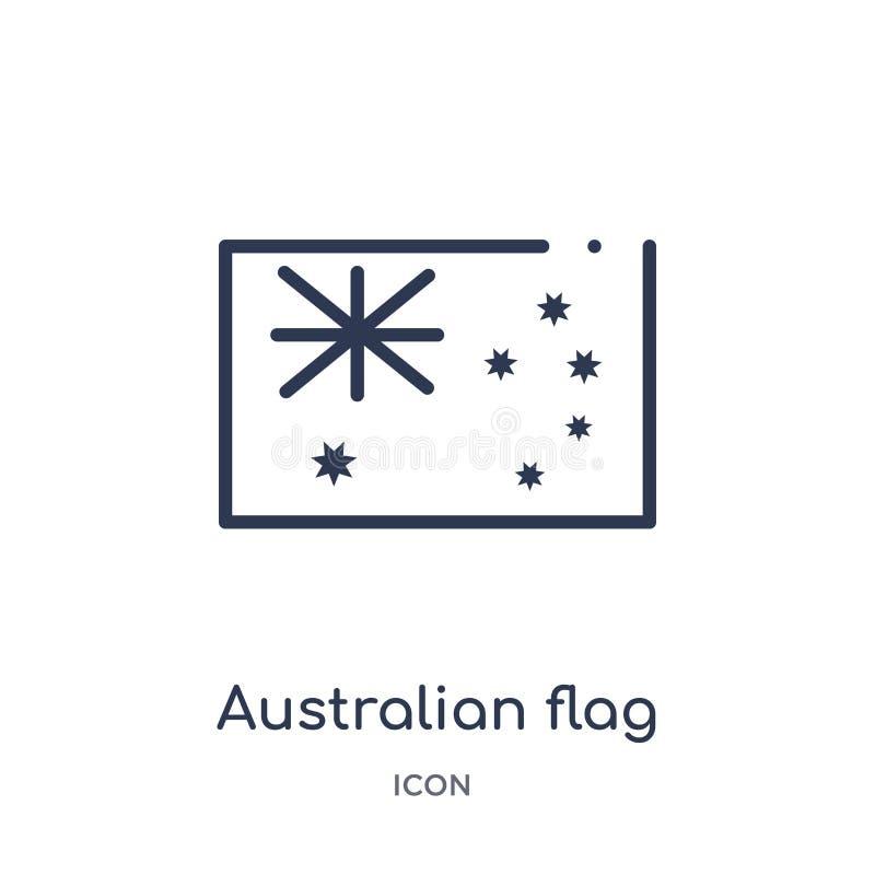 Linjär australisk flaggasymbol från kulturöversiktssamling Tunn linje australisk flaggavektor som isoleras på vit bakgrund royaltyfri illustrationer