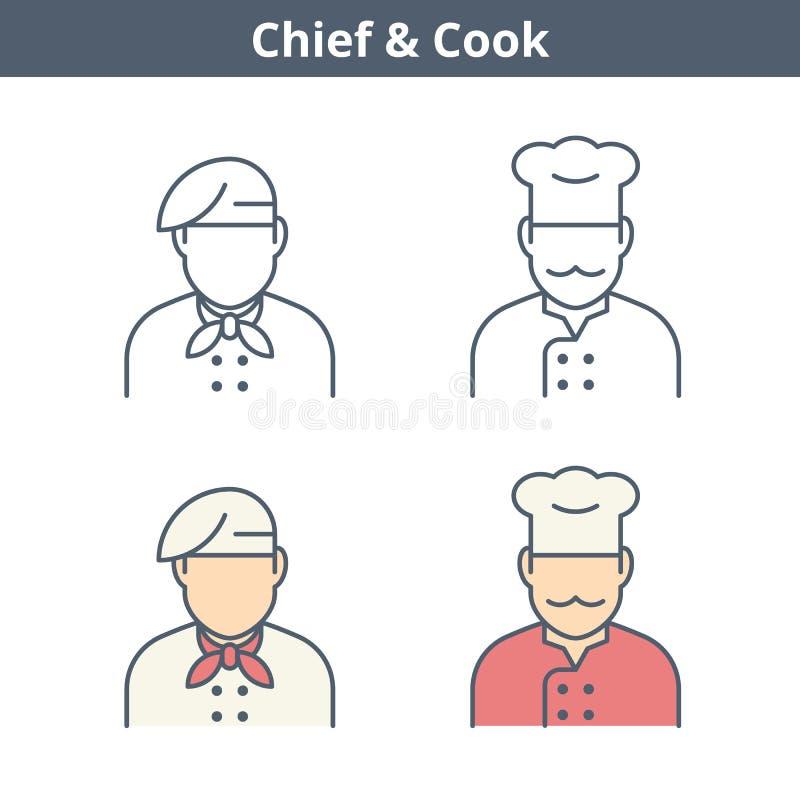 Linjär avataruppsättning för ockupationer: kock chef, bagare Gör översikten tunnare royaltyfri illustrationer
