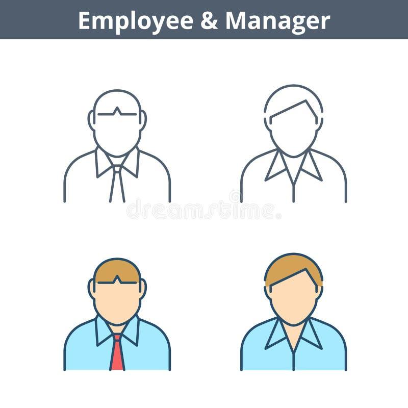 Linjär avataruppsättning för ockupationer: kontorist anställd, chef Tunn ou stock illustrationer