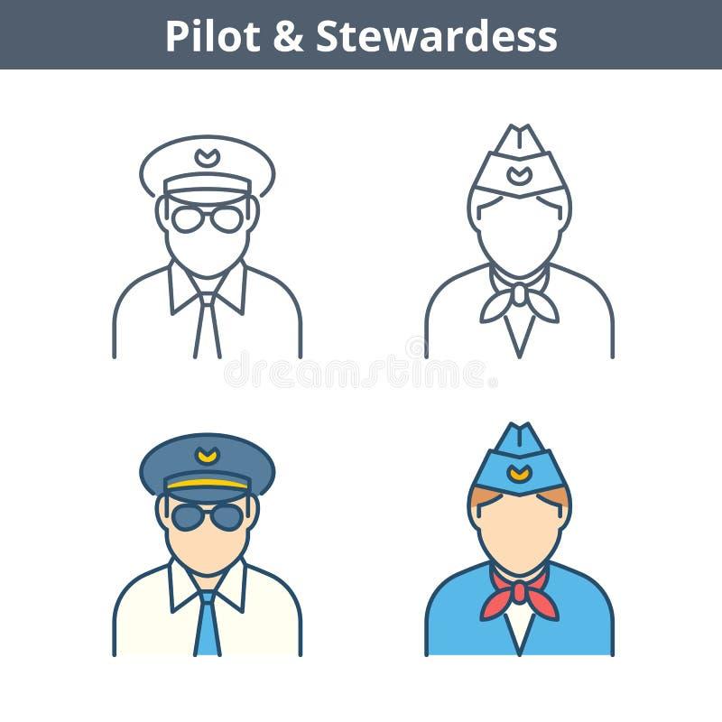 Linjär avataruppsättning för ockupationer: pilot stewardess Gör översikt I tunnare royaltyfri illustrationer