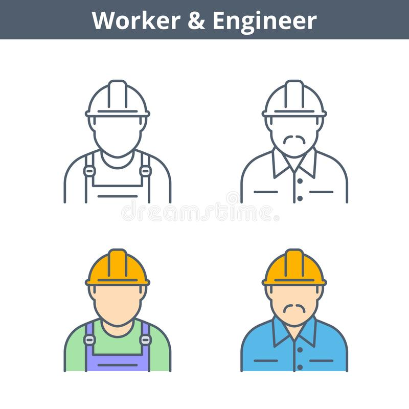 Linjär avataruppsättning för ockupationer: tekniker arbetare Gör översikten ic tunnare royaltyfri illustrationer