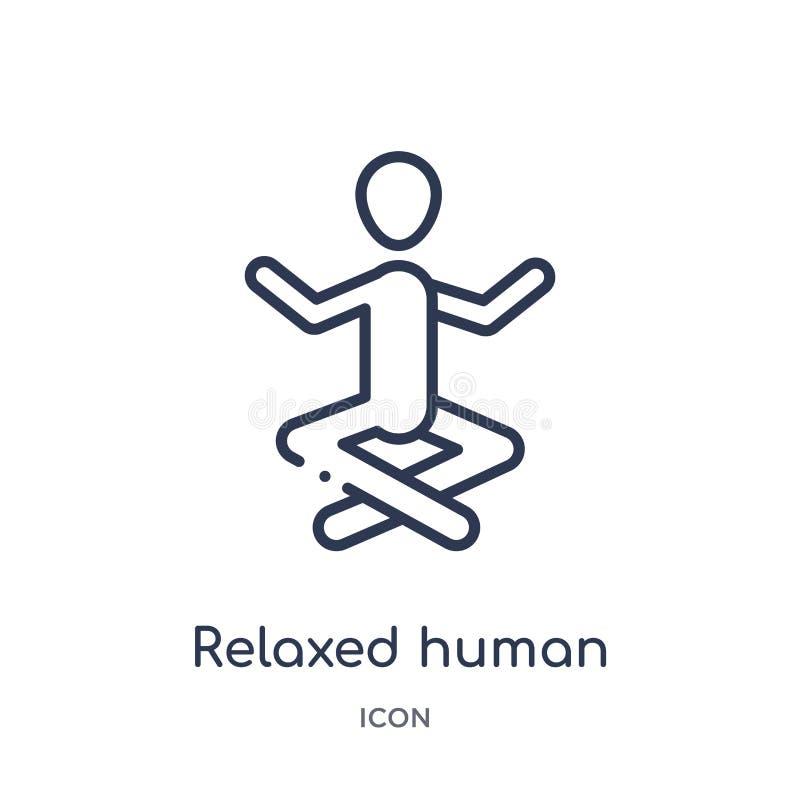 Linjär avkopplad mänsklig symbol från känslaöversiktssamling Den tunna linjen kopplade av den mänskliga vektorn som isolerades på stock illustrationer