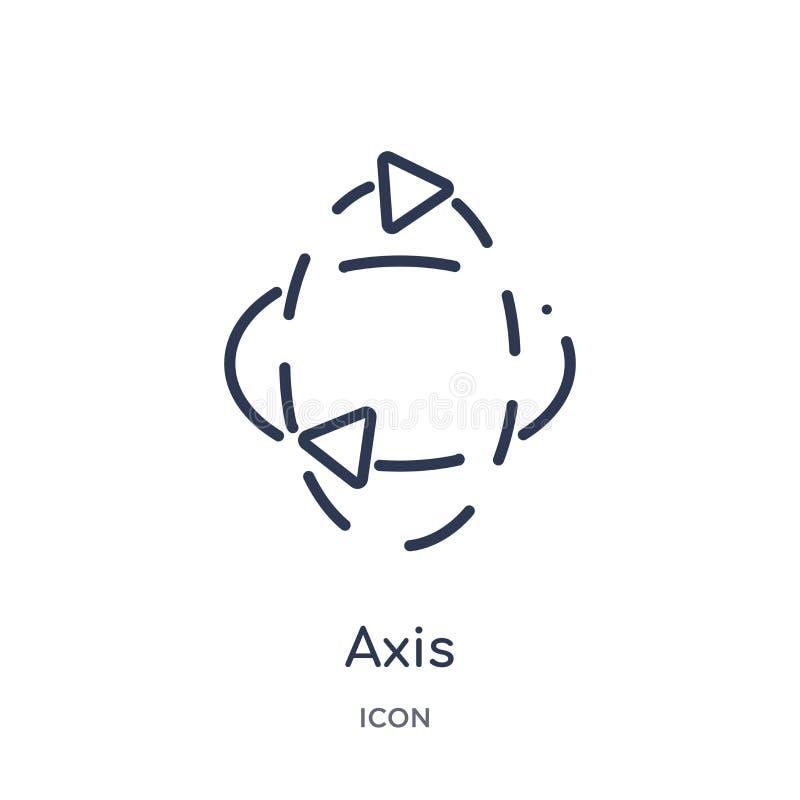 Linjär axelsymbol från geometriöversiktssamling Tunn linje axelsymbol som isoleras på vit bakgrund moderiktig illustration för ax vektor illustrationer
