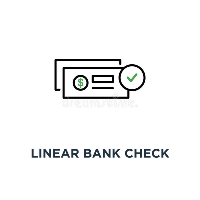 linjär bankkontroll som betalningsymbol, symbol av den abstrakta packa ihop checkhäftemallen eller checkbok och finansiellt överf vektor illustrationer