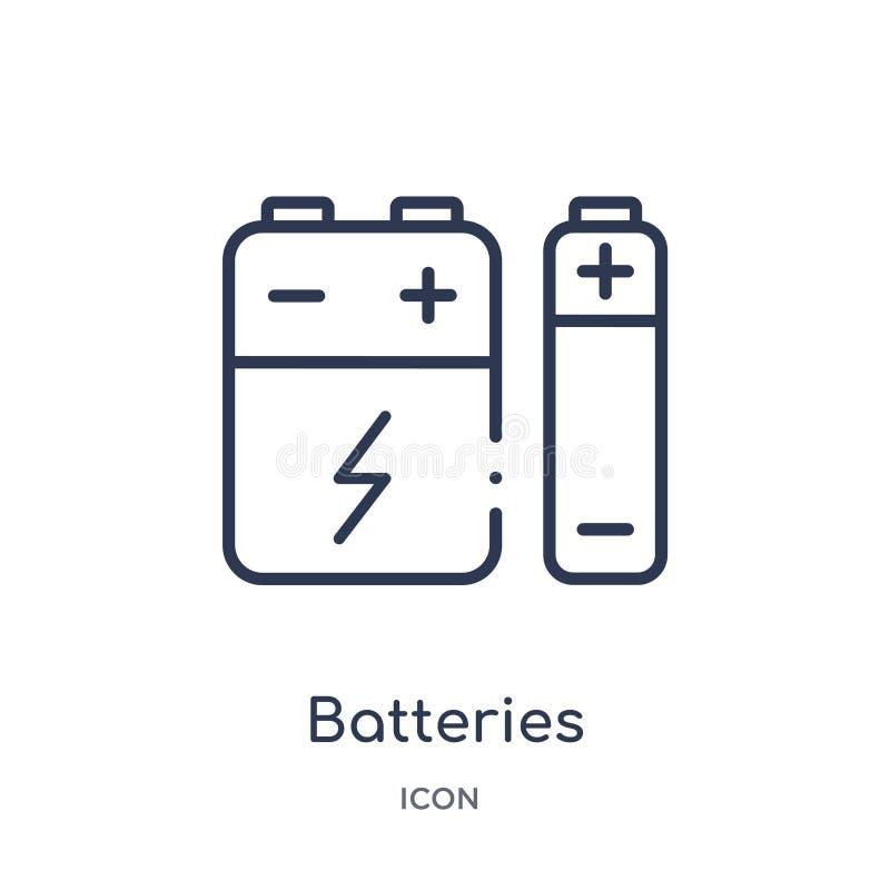 Linjär batterisymbol från elektroniköversiktssamling Tunn linje batterisymbol som isoleras på vit bakgrund moderiktiga batterier royaltyfri illustrationer