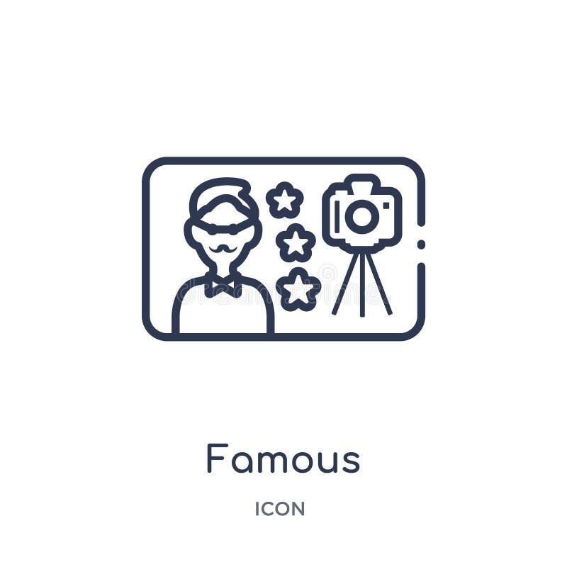Linjär berömd symbol från blogger- och influenceröversiktssamling Tunn linje berömd vektor som isoleras på vit bakgrund berömdt royaltyfri illustrationer