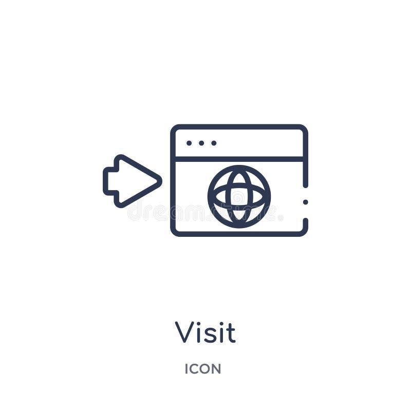 Linjär besöksymbol från översiktssamling för konstgjord intelligens Tunn linje besökvektor som isoleras på vit bakgrund visit stock illustrationer