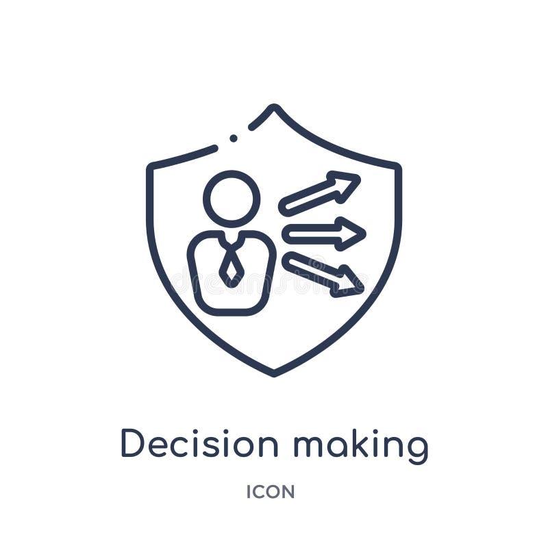 Linjär beslutsfattandesymbol från Gdpr översiktssamling Tunn linje beslutsfattandesymbol som isoleras på vit bakgrund beslut stock illustrationer