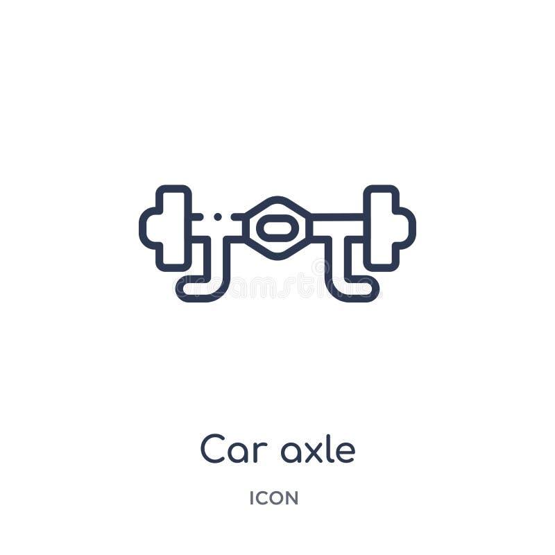 Linjär bilaxelsymbol från samling för bildelöversikt Tunn linje bilaxelvektor som isoleras på vit bakgrund moderiktig bilaxel royaltyfri illustrationer