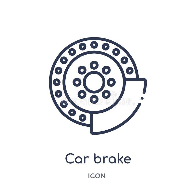 Linjär bilbromssymbol från samling för bildelöversikt Tunn linje bilbromsvektor som isoleras på vit bakgrund moderiktig bilbroms vektor illustrationer