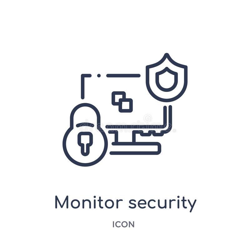 Linjär bildskärmsäkerhetssymbol från säkerhet och att knyta kontakt för internet översiktssamlingen Tunn linje bildskärmsäkerhets vektor illustrationer