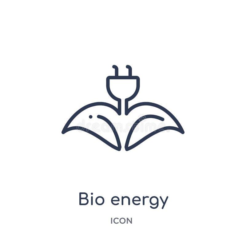 Linjär bio energisymbol från ekologiöversiktssamling Tunn linje bio energivektor som isoleras på vit bakgrund bio vektor för ener royaltyfri illustrationer