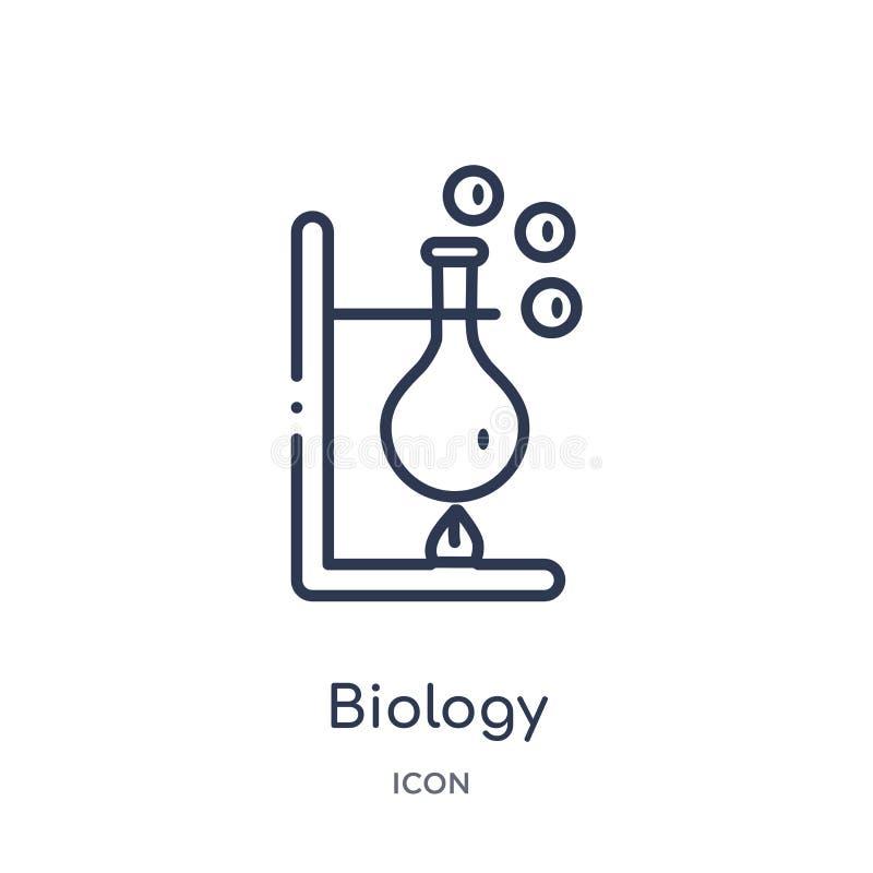 Linjär biologisymbol från kemiöversiktssamling Tunn linje biologivektor som isoleras på vit bakgrund moderiktig biologi royaltyfri illustrationer