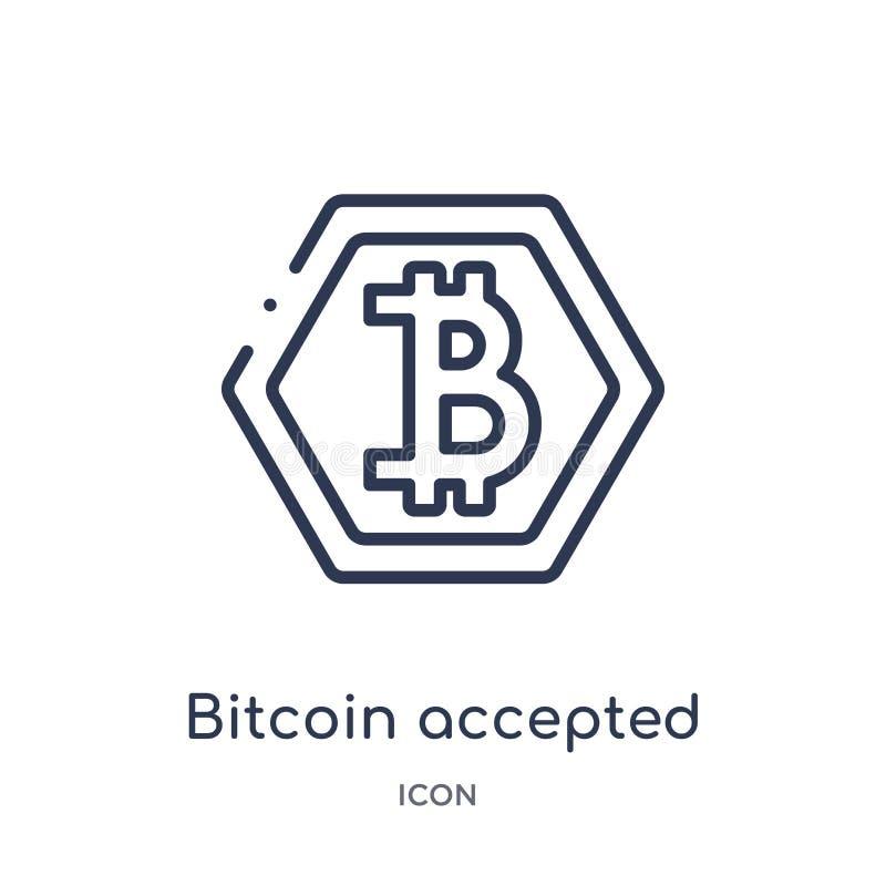 Linjär bitcoin accepterade symbolen från Cryptocurrency ekonomi och finansöversiktssamling Den tunna linjen bitcoin accepterade v royaltyfri illustrationer