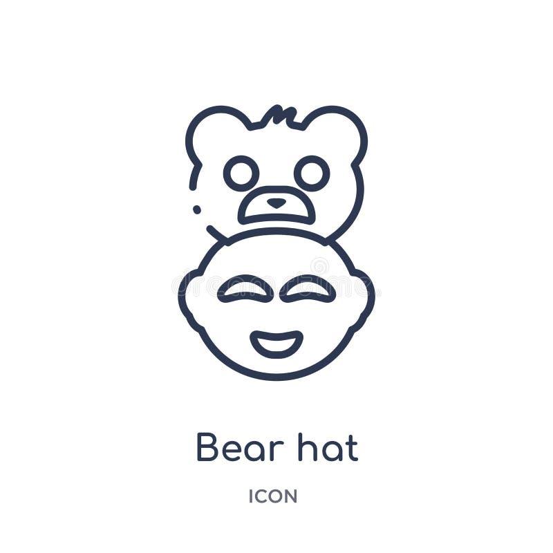 Linjär björnhattsymbol från unge och att behandla som ett barn översiktssamlingen Tunn linje björnhattsymbol som isoleras på vit  stock illustrationer