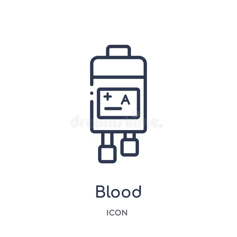 Linjär blodsymbol från vård- och medicinsk översiktssamling Tunn linje blodsymbol som isoleras på vit bakgrund ge första erfarenh vektor illustrationer