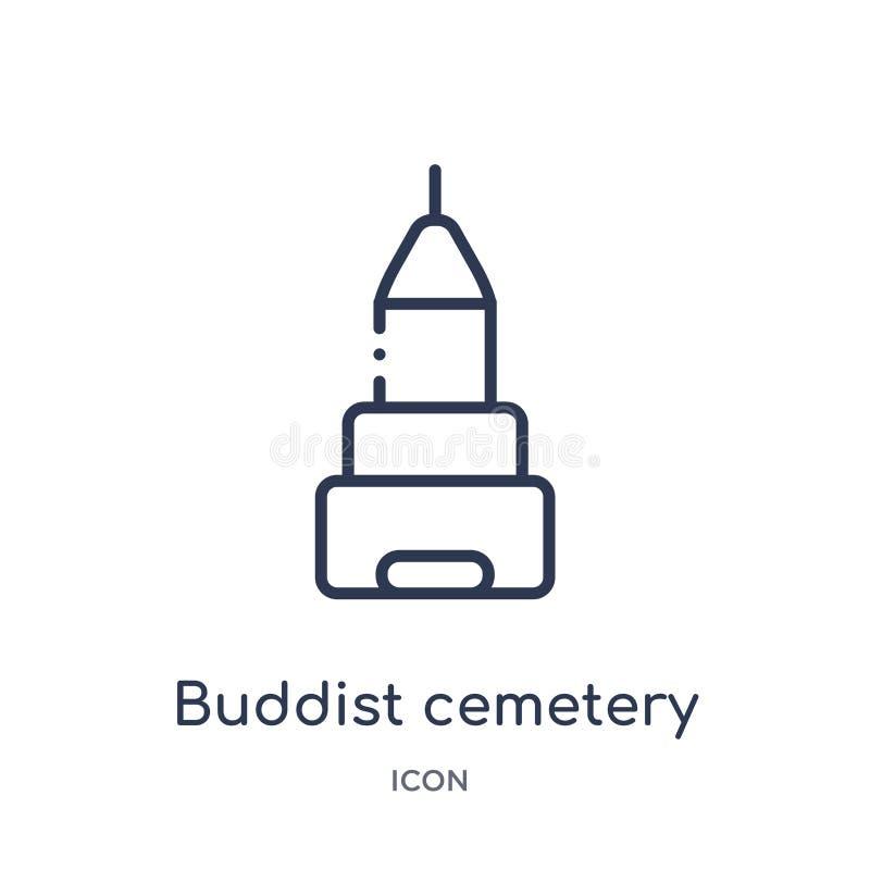Linjär buddistkyrkogårdsymbol från byggnadsöversiktssamling Tunn linje buddistkyrkogårdvektor som isoleras på vit bakgrund vektor illustrationer