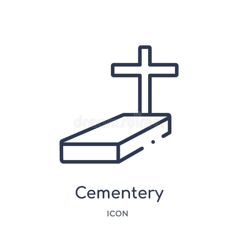 Linjär cementerysymbol från samling för stadsbeståndsdelöversikt Tunn linje cementeryvektor som isoleras på vit bakgrund Cementer stock illustrationer