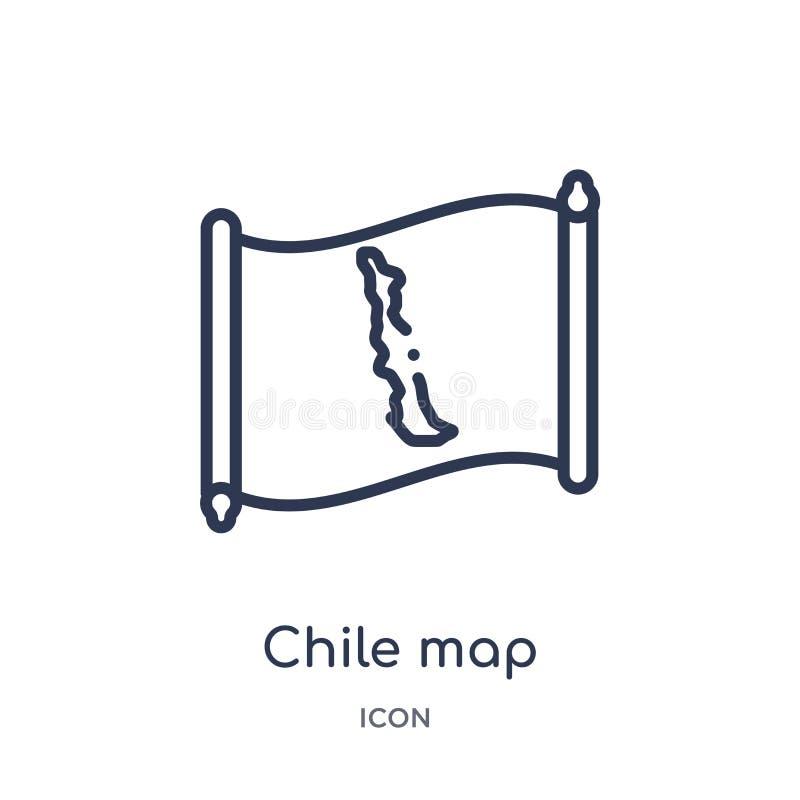 Linjär chileöversiktssymbol från Countrymaps översiktssamling Tunn linje chileöversiktsvektor som isoleras på vit bakgrund Chile  royaltyfri illustrationer
