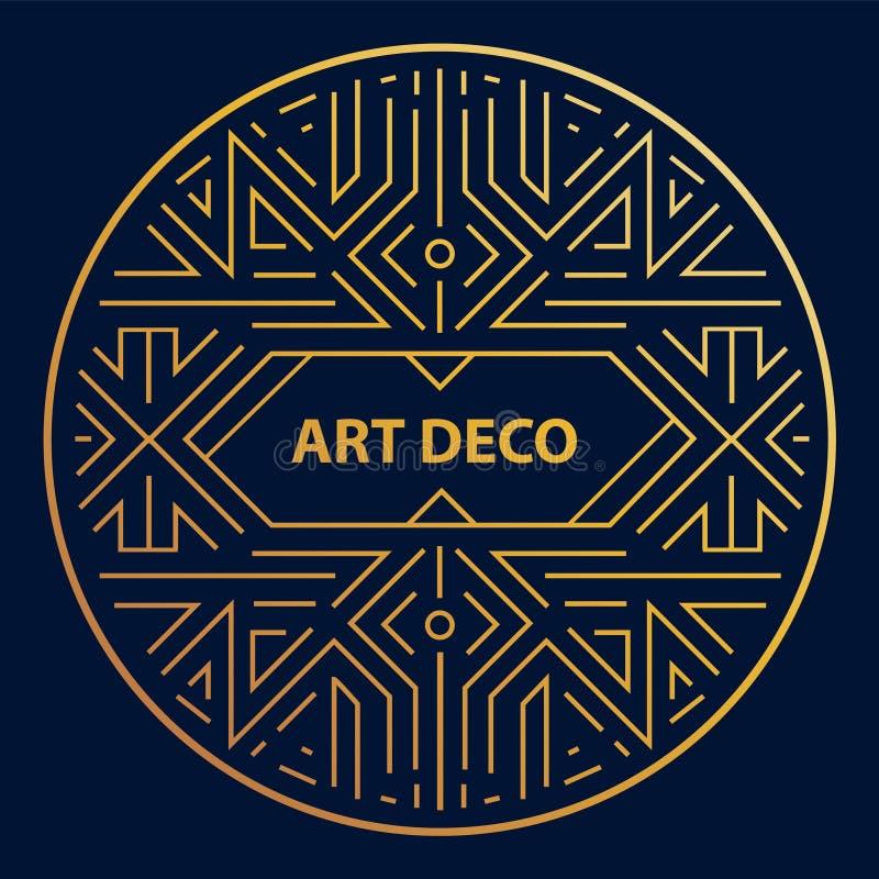 Linjär cirkel för vektorart déco, rund gräns, ram Idérik mall i klassisk retro stil av 20-tal Bruk för att förpacka stock illustrationer