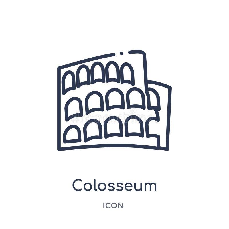 Linjär colosseumsymbol från historieöversiktssamling Tunn linje colosseumsymbol som isoleras på vit bakgrund moderiktig colosseum stock illustrationer